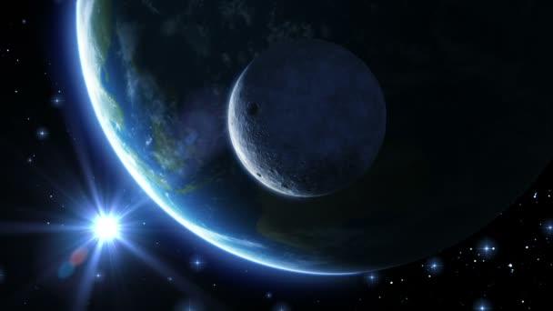 země, měsíce a slunce. modré světlo. 1080 p HD