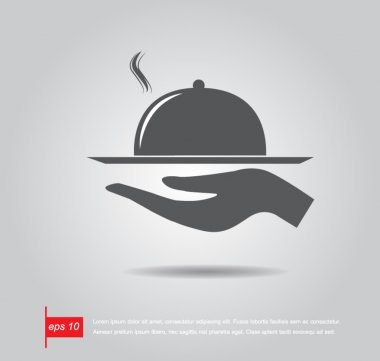 restaurant icon with tray of plate in hand vector icon