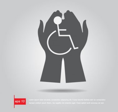hand hold disabled sign vector icon