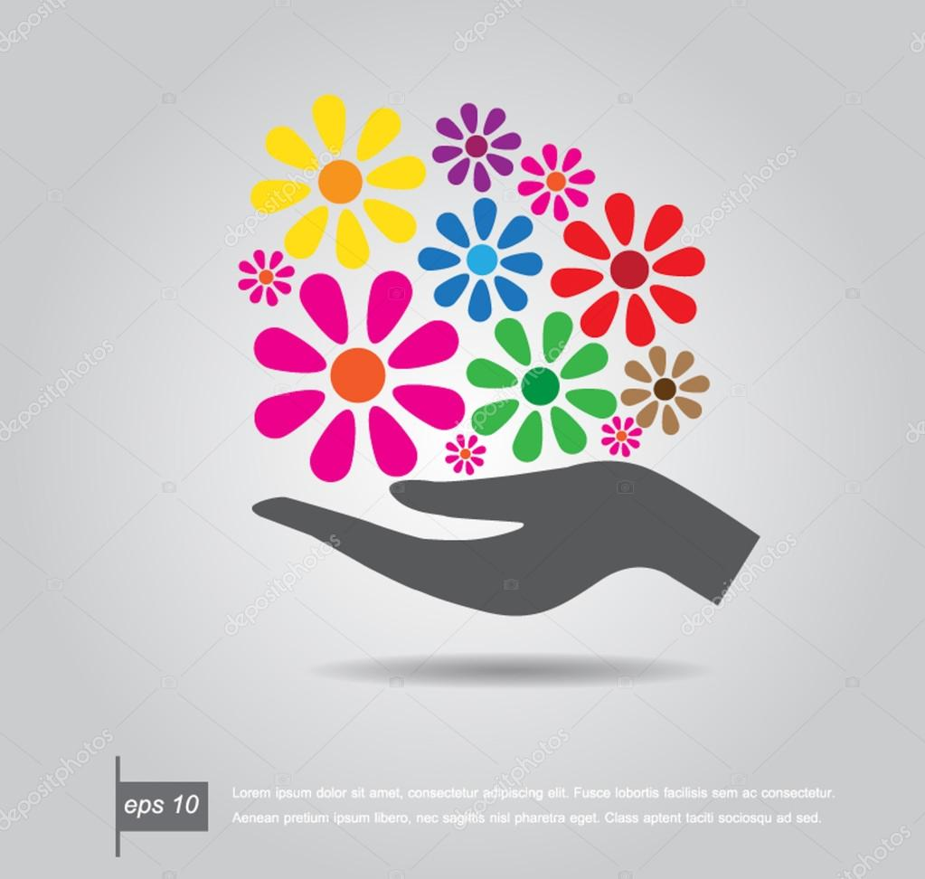 hold flower icon vector