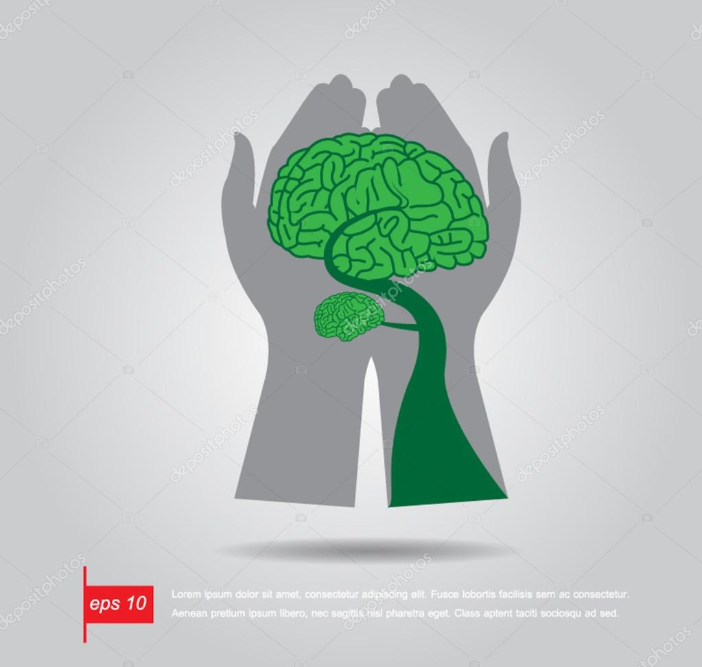hand hold Brain Bonsai tree illustration, tree of knowledge vect