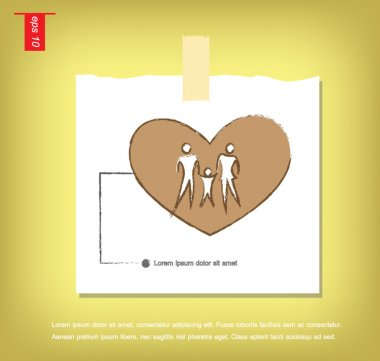 Illustration of family icons in heart, isolated on gray backgrou