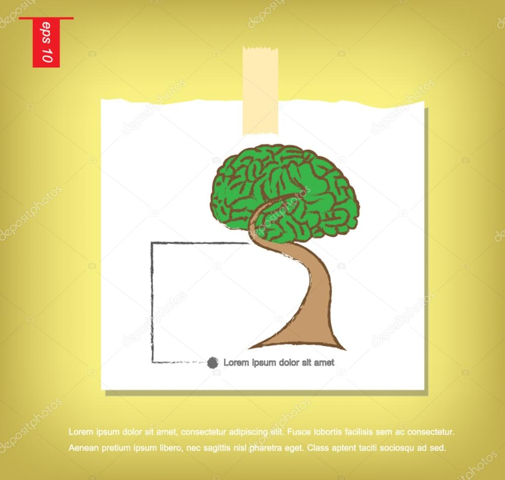 Brain Bonsai tree illustration, tree of knowledge vector icon  i
