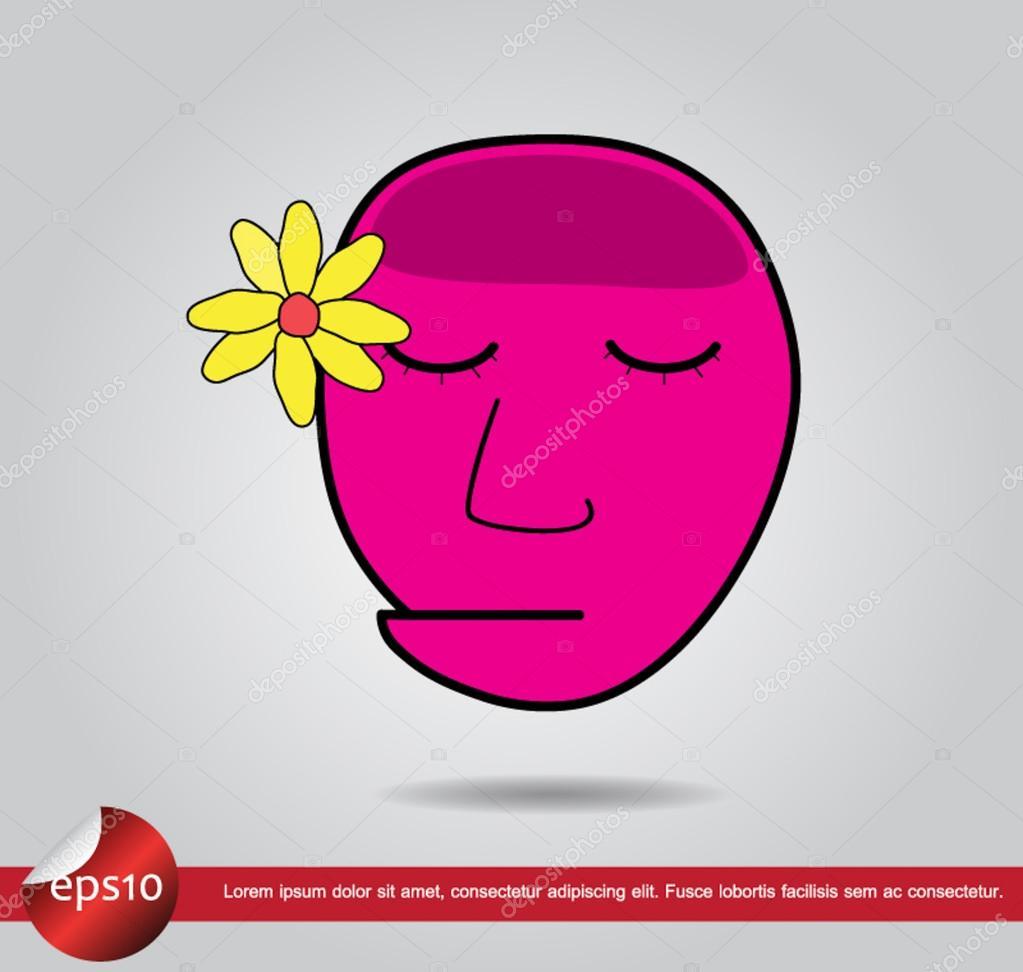 head human flower vector icon