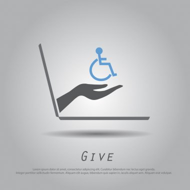 hand hold disable on wheelchair from laptop vector icon