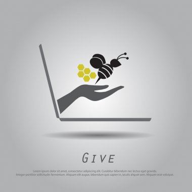 hand hold  bee  from laptop vector icon