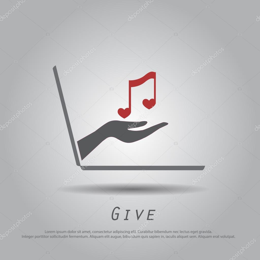 hand hold note music heart  from laptop vector ico