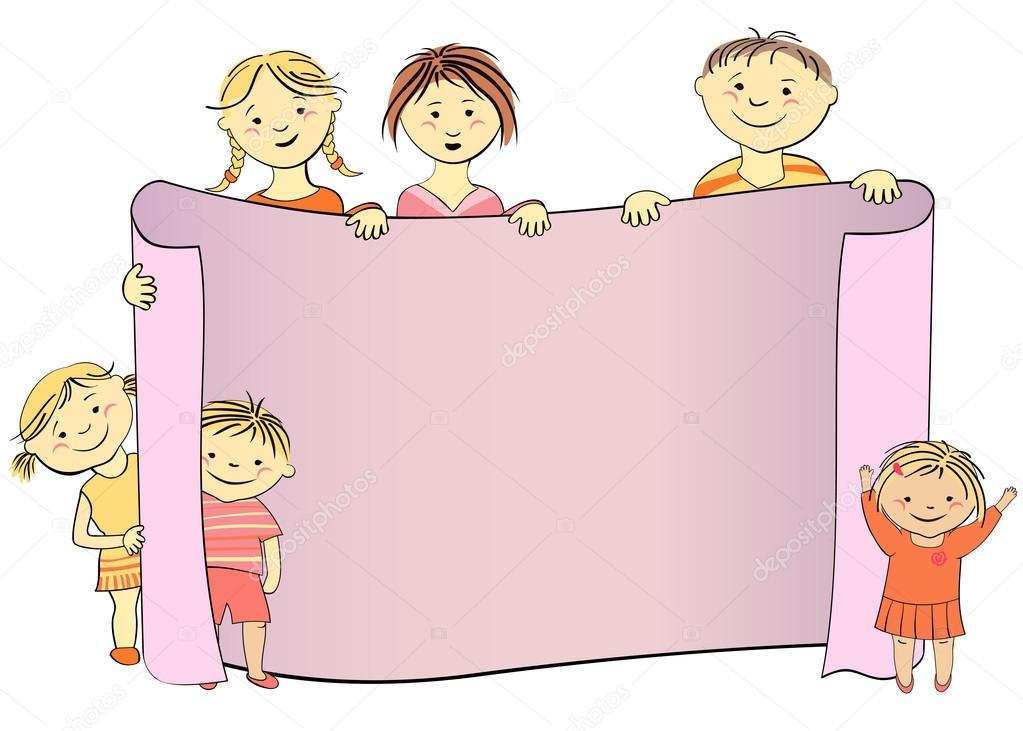 Vektor-Kinder mit Scroll für anzeigen — Stockvektor © Bondar #47663225
