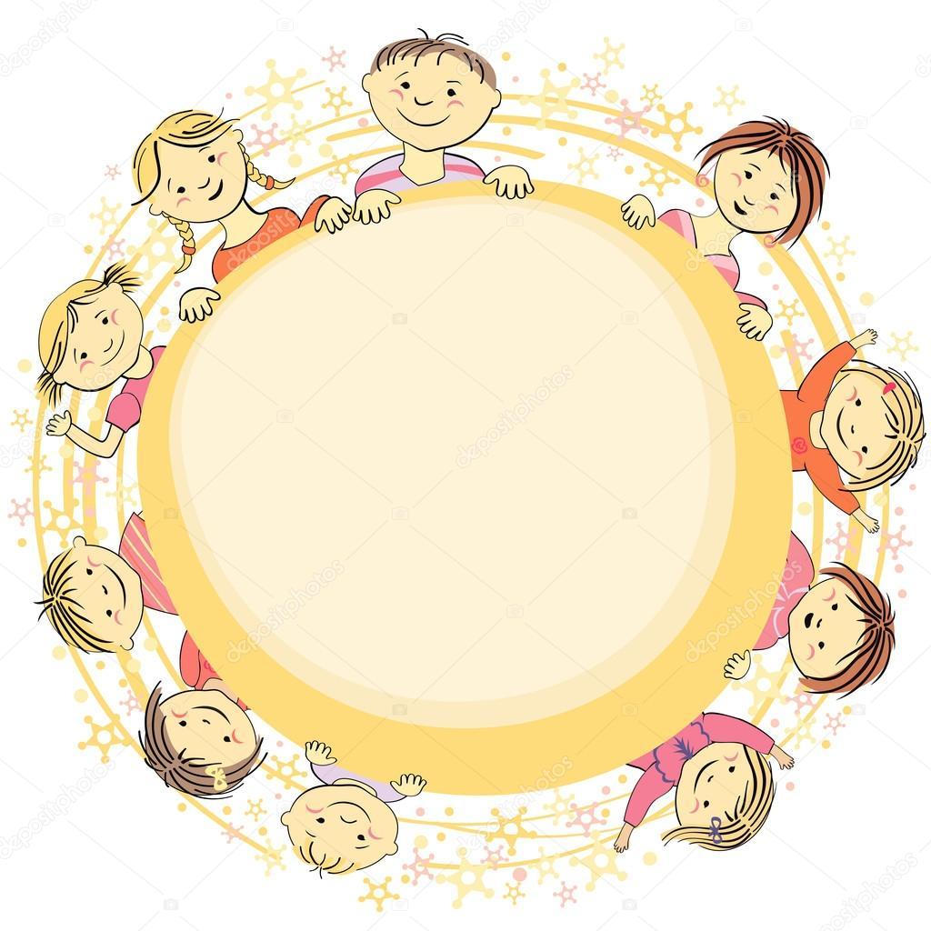 Vektor Rahmen Kreis für Text mit Kindern — Stockvektor © Bondar ...