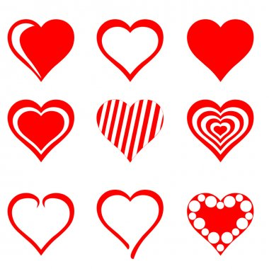 Collection of red hearts stock vector
