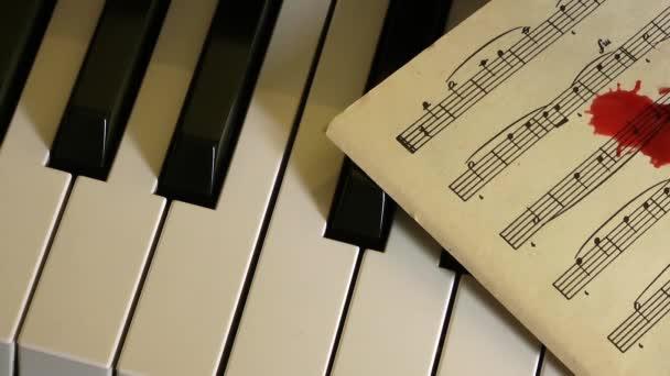 klavír a krev kapky na noty