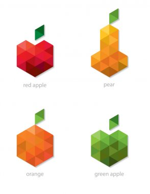 Set of vector fruits made of colored triangles