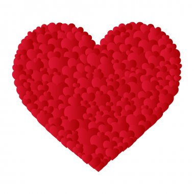Vector heart made of small hearts