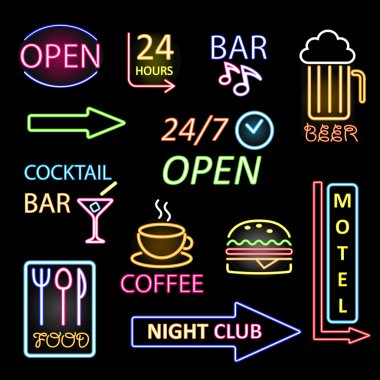 Vector neon icon set