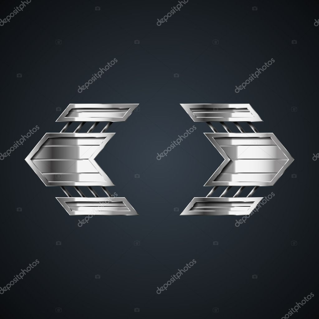 Vector abstract metal arrows left and right