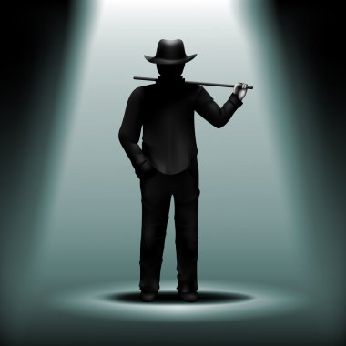 Vector mystery silhouette of man with hat and walking stick unde