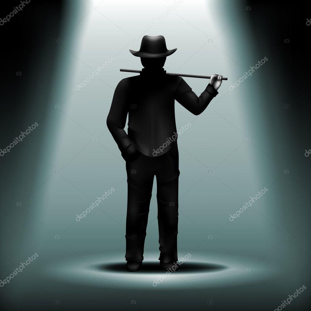 Vektor-Geheimnis-Silhouette der Mann mit Hut und Wanderstock unde ...