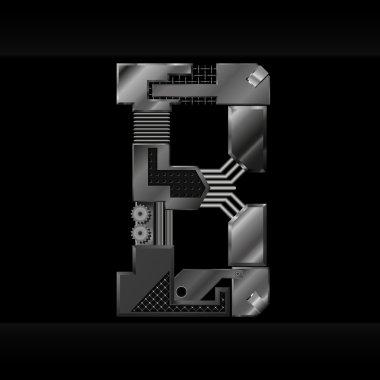 Vector metallic alphabet letter B