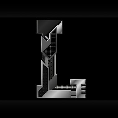 Vector metallic alphabet letter L