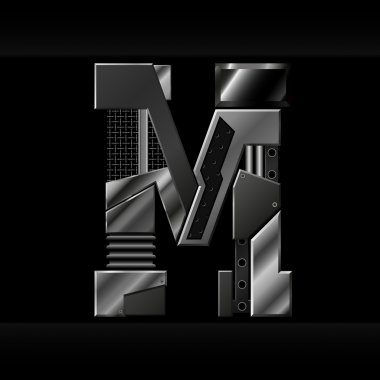 Vector metallic alphabet letter M