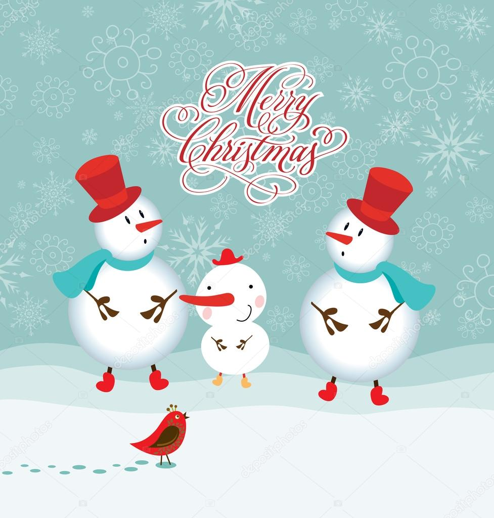 Happy Funny Family Of Three Snowmen Greeting Christmas Card Merry