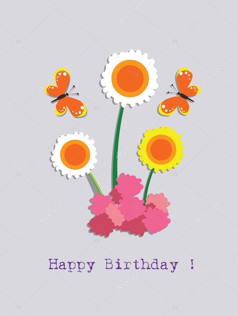 Verjaardag Bloem En Vlinder Stockvector C Ngocdai86 36480231