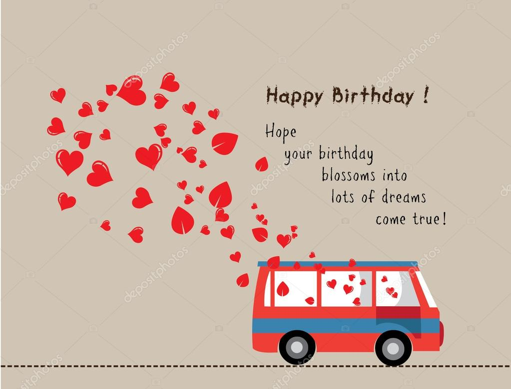Bus D Amour Joyeux Anniversaire Avec Coeur Image