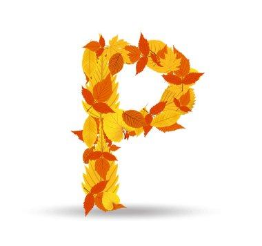 Vector autumn leaves font, letter P
