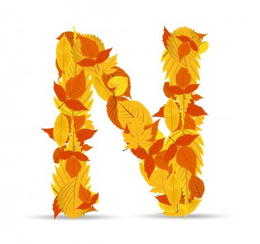 Vector autumn leaves font, letter N
