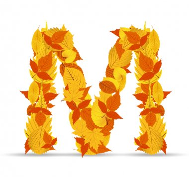 Vector autumn leaves font, letter M