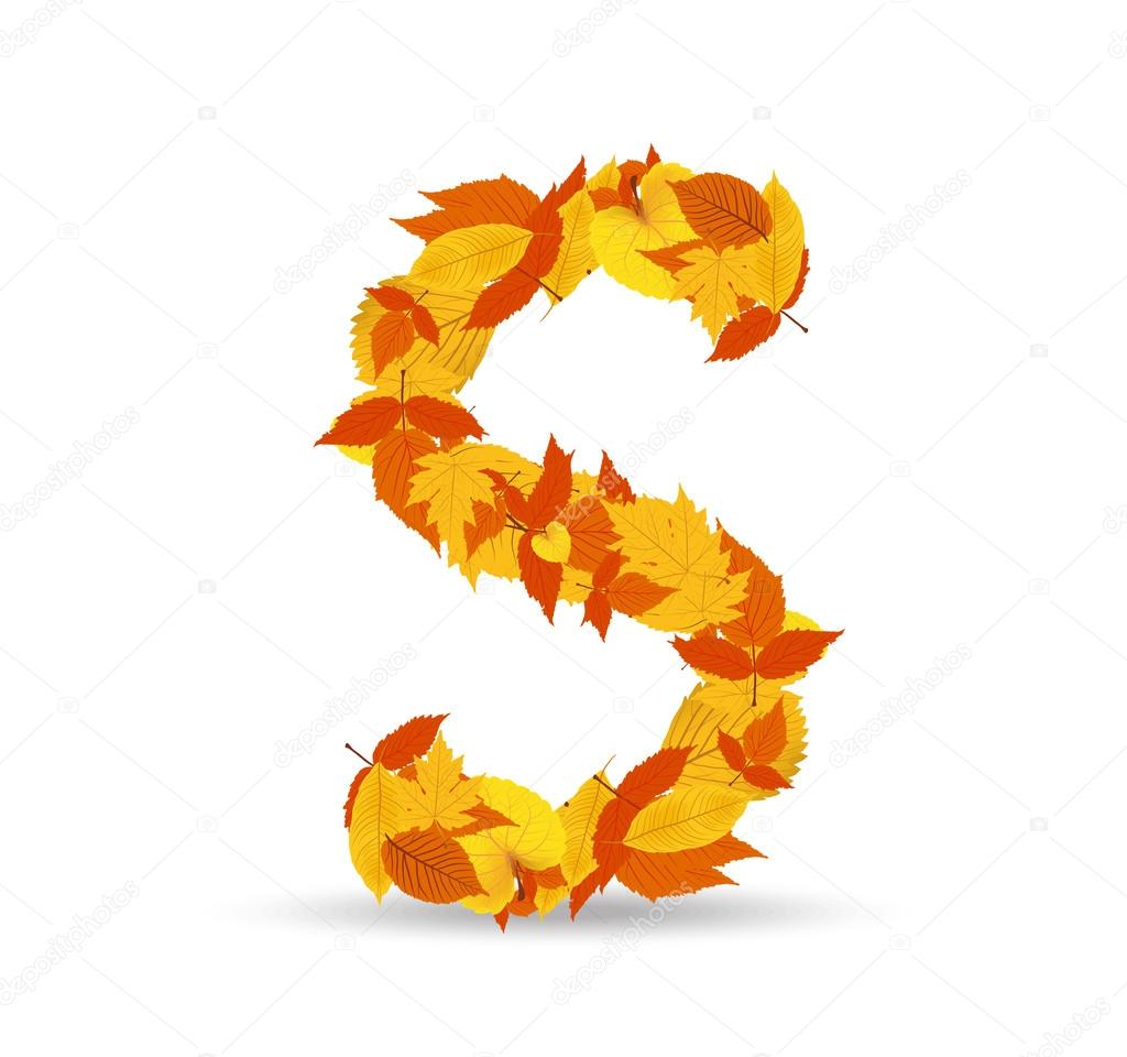 Vector autumn leaves font, letter S