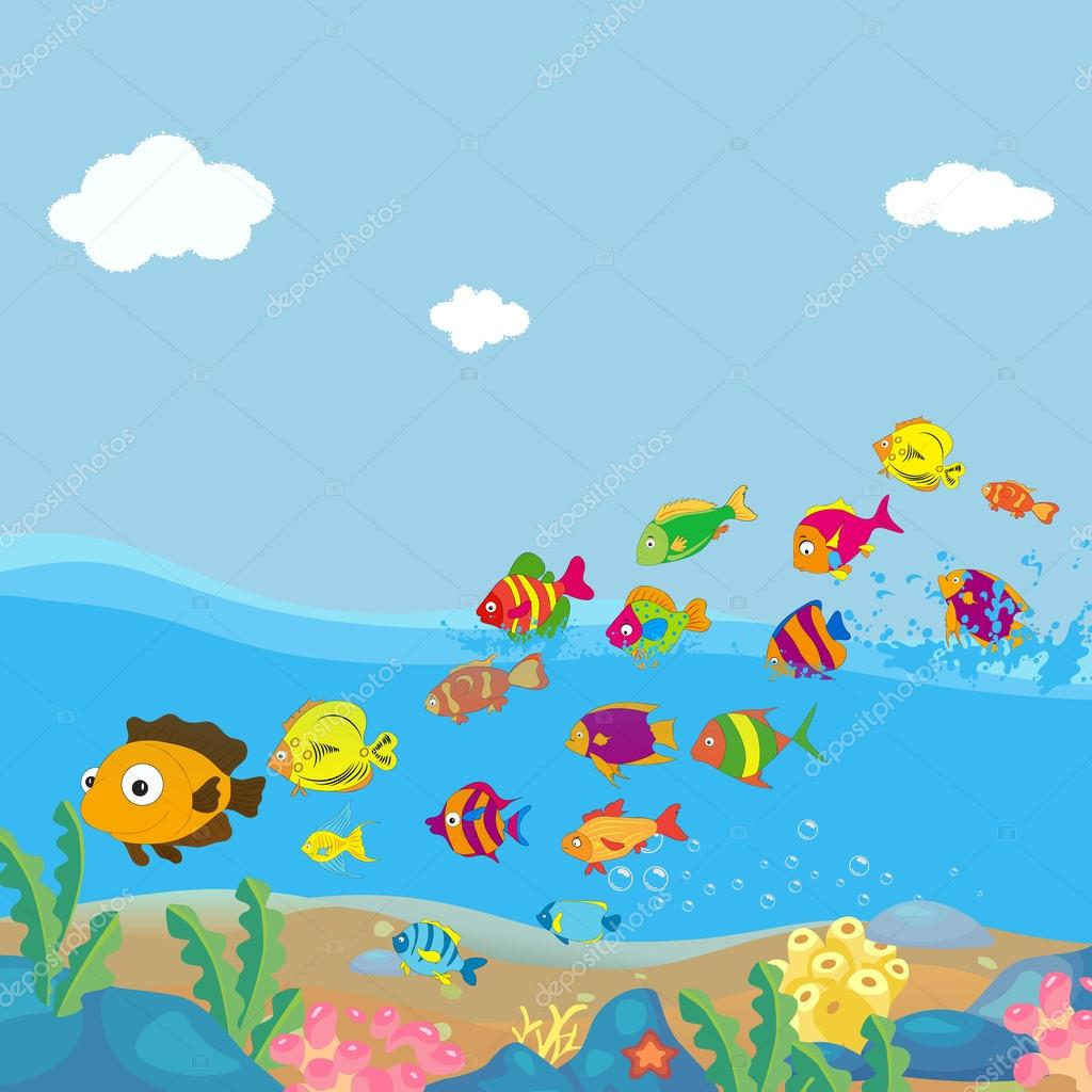 Family of funny fish under the sea