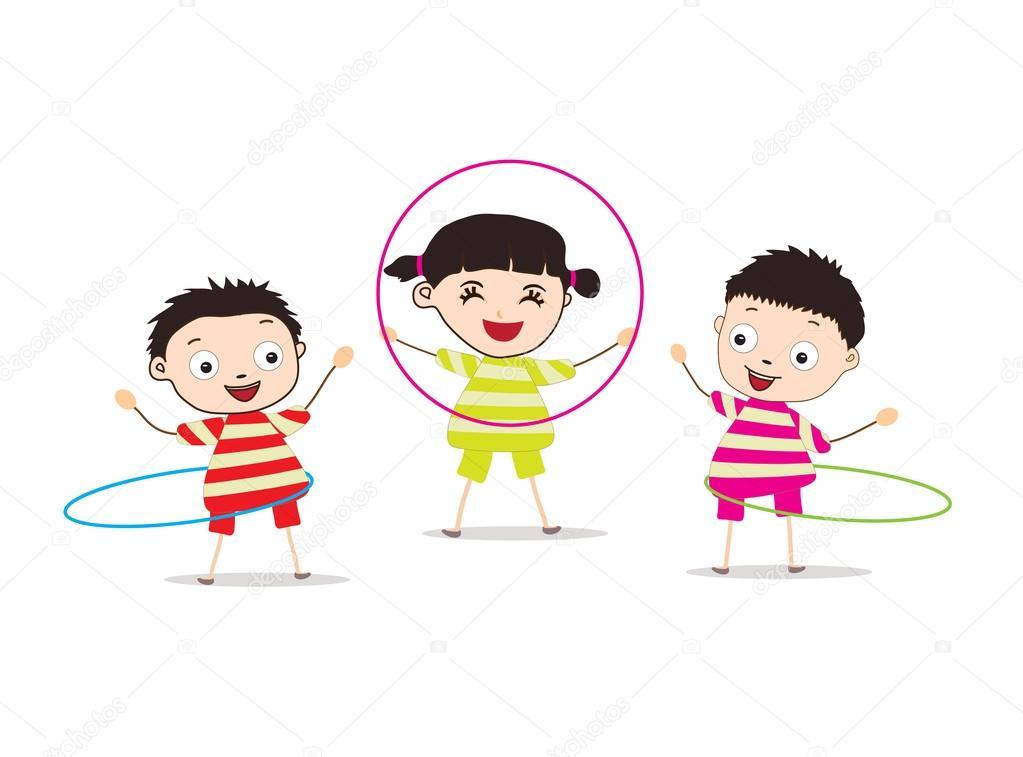 niños jugando, hula-hoop — Vector de stock © ngocdai86