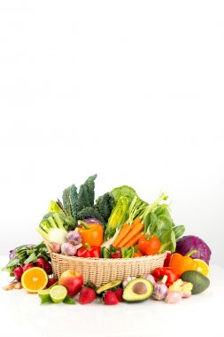 Assortment of Fresh Vegetables and Fruits in Basket