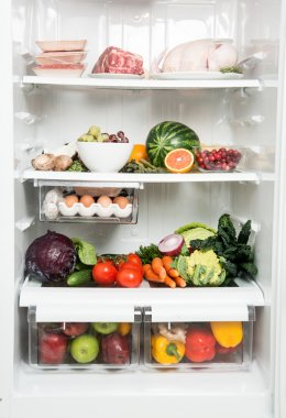 Refrigerator Full of Fresh Fruits, Vegetables, and Healthy Meat Options