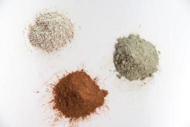 Three Different Clay Mud Powders