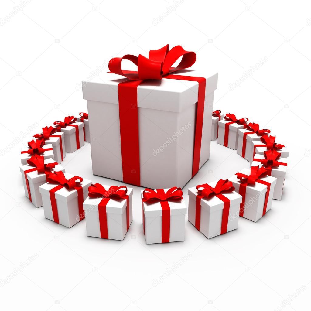 großes Geschenk, umgeben von kleinen Geschenken — Stockfoto © rexi ...