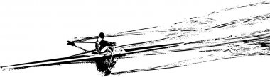canoeist silhouette on a white background