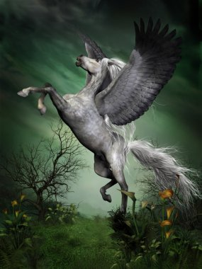A dapple grey Pegasus takes to flight from a forest knoll with huge wing beats. stock vector