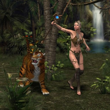 Woman Warrior with Tiger