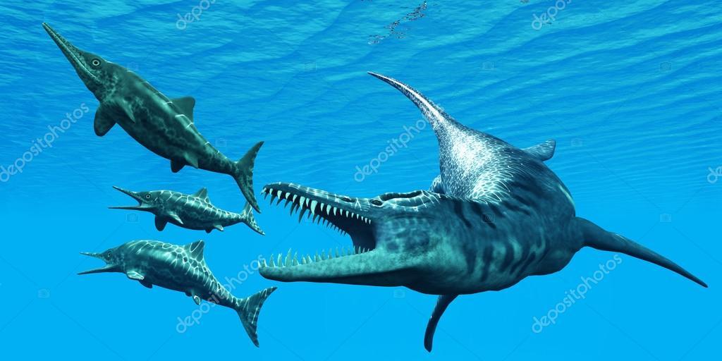 Liopleurodon attacks Ichthyosaurus