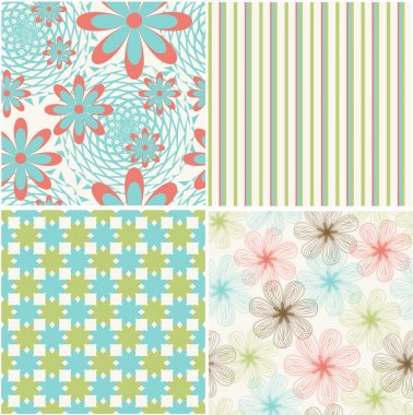 Vector set of seamless pattern with flowers stock vector