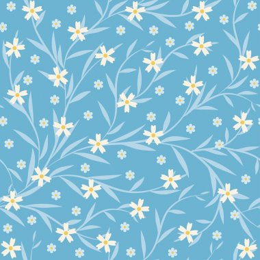 Seamless background with small flowers and leaves