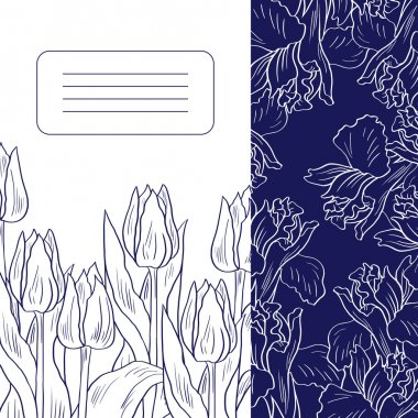 Floral card with tulips and irises