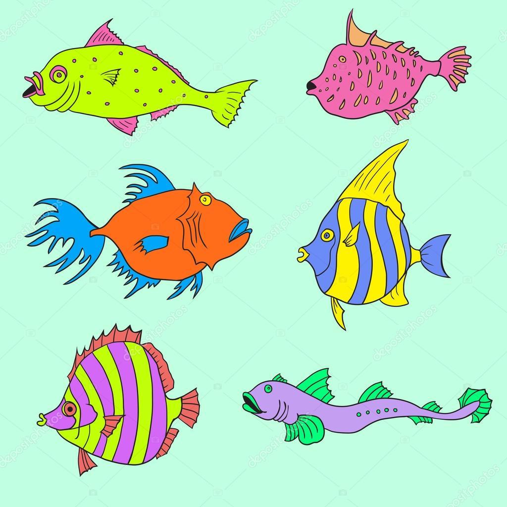 Insieme di pesci cartone animato illustrazione