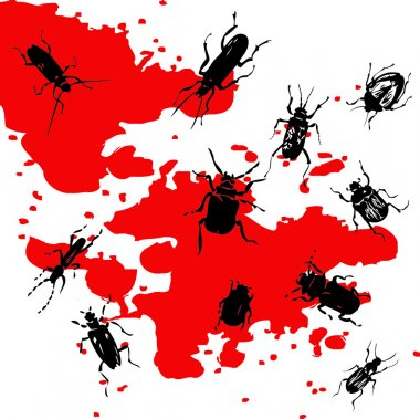 Silhouettes of insects on a background with blood stains