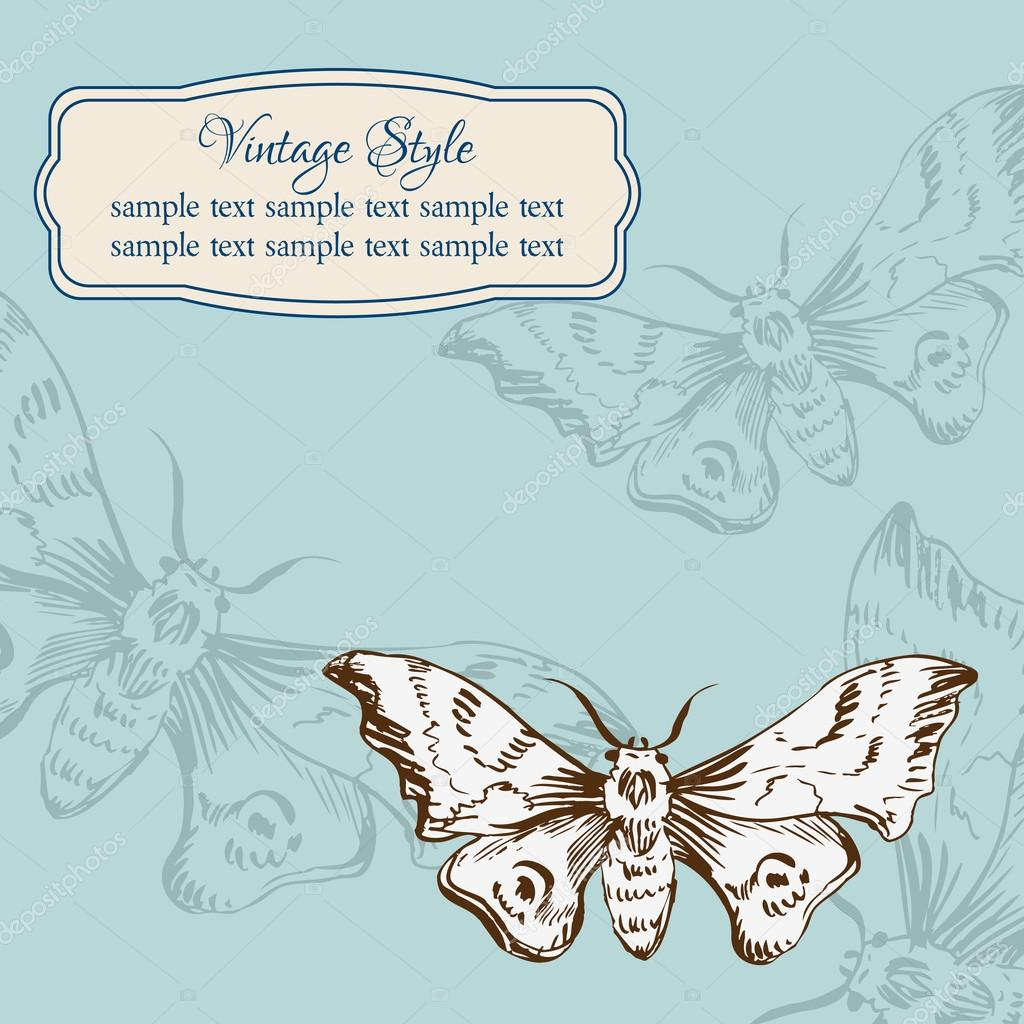 Vintage card with butterflies