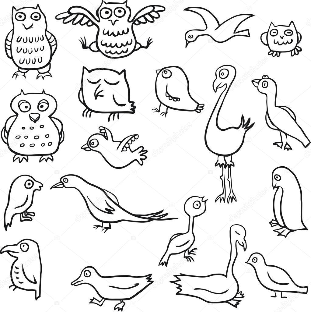 Cartoon line drawing birds