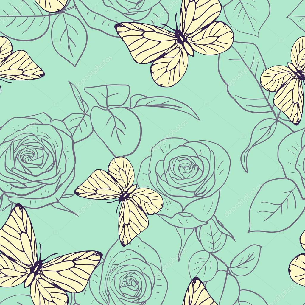 Seamless pattern with roses and butterflies