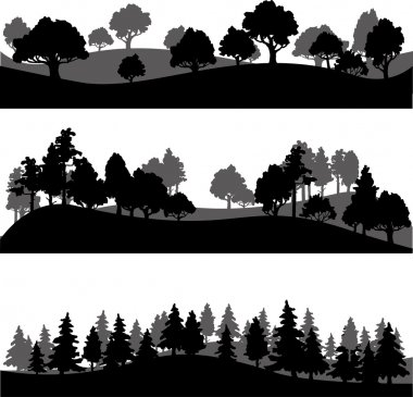 Set of different silhouettes of landscape with trees, vector illustration stock vector